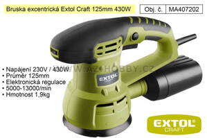 Bruska excentrická Extol Craft 125mm 430W