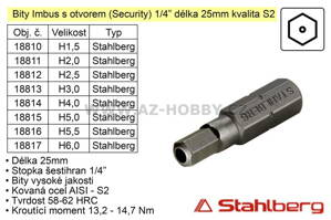 Bit Imbus H1,5x25mm 1/4' Security Stahlberg